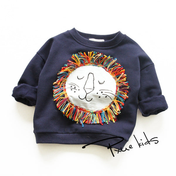 2016 Autumn Winter girls Fashion Fleece Sweatshirts children hoodies kids cartoon fringe lion