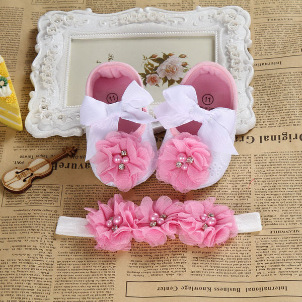 2016 Ballerina Booties shoes baby girl headbands set,Soft soled vintage crib first
