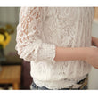 2016 Blusas Women Fashion Long Sleeve Lace Blouse Spring Autumn Women Clothes Vintage White Crochet Tops Shirt Plus Size 4XL A62