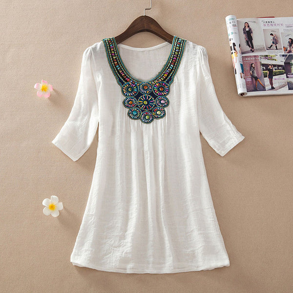 2016 New Arrival summer Beading Blouse Fashion Half Sleeve Women O-neck Casual Summer Blusas Shirt Top Plus Size 7 Color A55