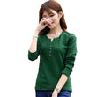 2016 New Plus Size 4XL Tops Women Spring Autumn Tshirt Casual Tees Fashion V Neck Long Sleeve Cotton T Shirts Solid Blusas A519