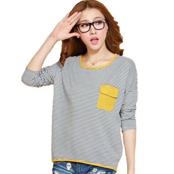 2016 New Spring Autumn T Shirt Women Tops Lady Long Sleeve Casual Loose Striped T-Shirt Fashion Tee Shirt Blusas Feminino A590