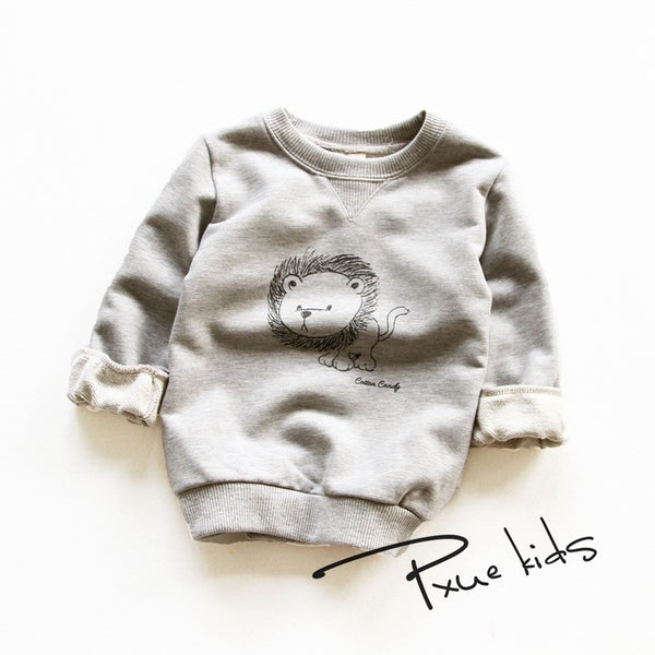 2016 New kids Hoodies child boys girls spring autumn cotton Cartoon lion sweater Long Sleeve