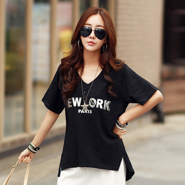 2016 T Shirt Women Summer Letter PU Appliques T-Shirt Tops Short Sleeve V Neck Loose Side Split Asymmetrical Tees T Shirts A254