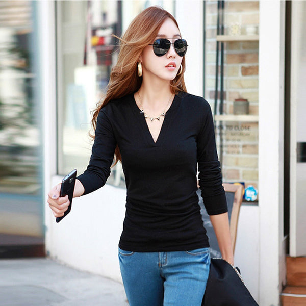 2016 Women T Shirt New Spring Autumn Woman Sexy V Neck Long Sleeve Casual Solid Black/Wine Red Tee Tops Blusa A568