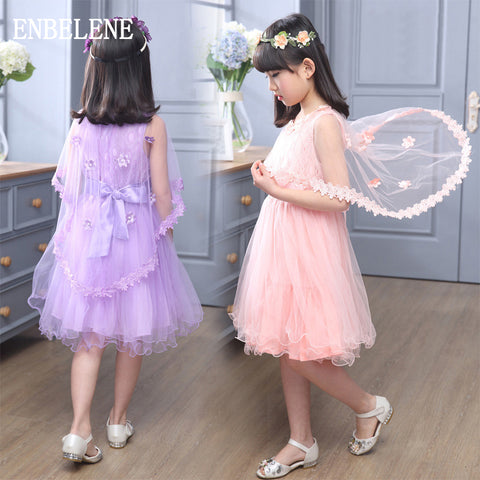 2016 summer girls elegant dresses children lace cape sleeve flower collar pink purple white kids gown for party wedding FE005