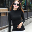2017 Autumn New Fashion Women Long Sleeve Turtleneck T-shirts Womens Causal Cotton T shirt Tops For Women Red Whit Tees Top CS79