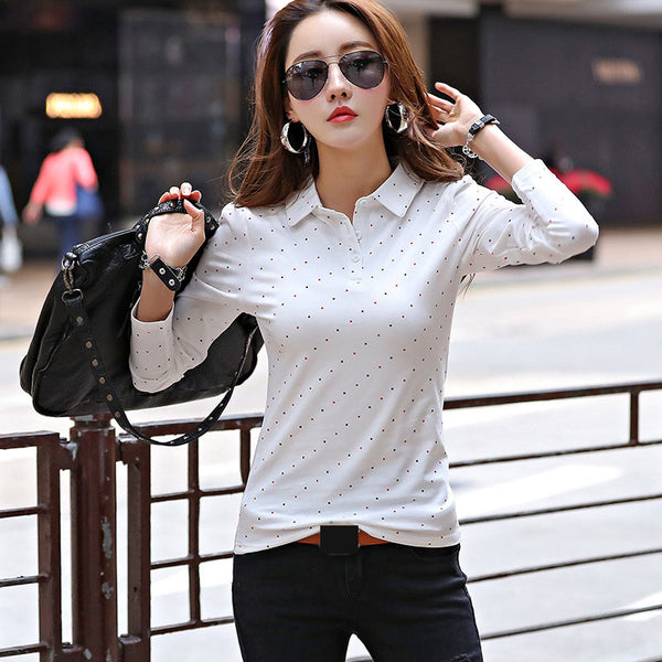 2017 Autumn Spring Polo Shirt For Women New Long Sleeve Polo Top Polka Dot Slim Polos Mujer Women Shirts Tops Fashion Polo Femme