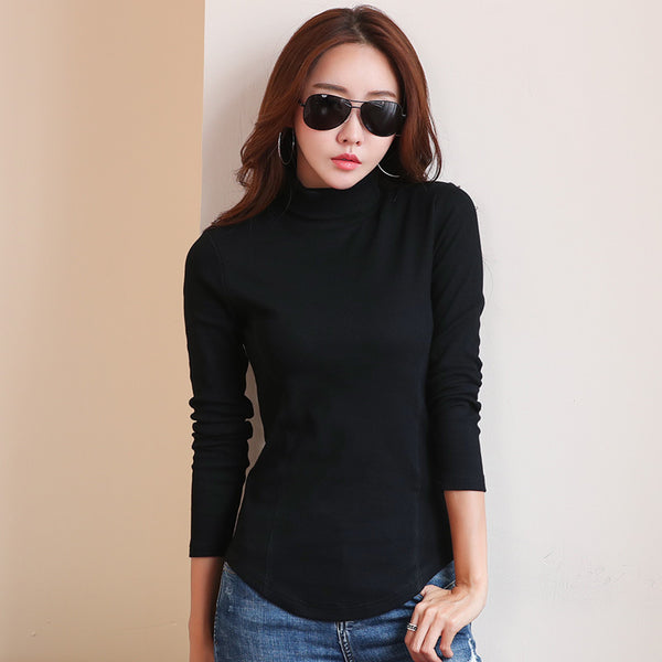 2017 Autumn Winter Warm Turtleneck Tee Tops Long Sleeve Cotton Candy Colors T Shirt Slim Casual t-shirt Women Basic Tees Top WT6