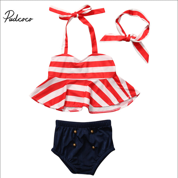 2017 Baby Toddler Kids Girls Striped Tankini Bikini Swimwear Bathing Suit Summer Beachwear