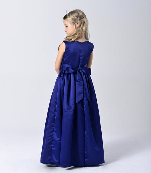 2017 Big girls formal brides maid dresses wedding party floor length satin blue bow v neck children kids evening ball gown FB046