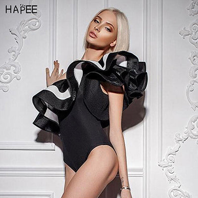 2017 Black White Ruffles Jumpsuit Romper One Piece Swimsuit Brazilian One Off Shoulder Monokini Swimwear Bathing Suit For Women