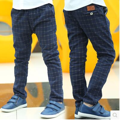 2017 Boys Pants Kids Casual Pants Children Fashion Plaid Trousers