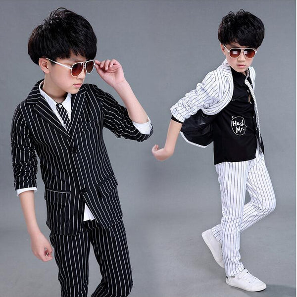 2017 Brand 2PCS Boys Solid Wedding Black and White Striped Suit England Style Gentle Boys Formal