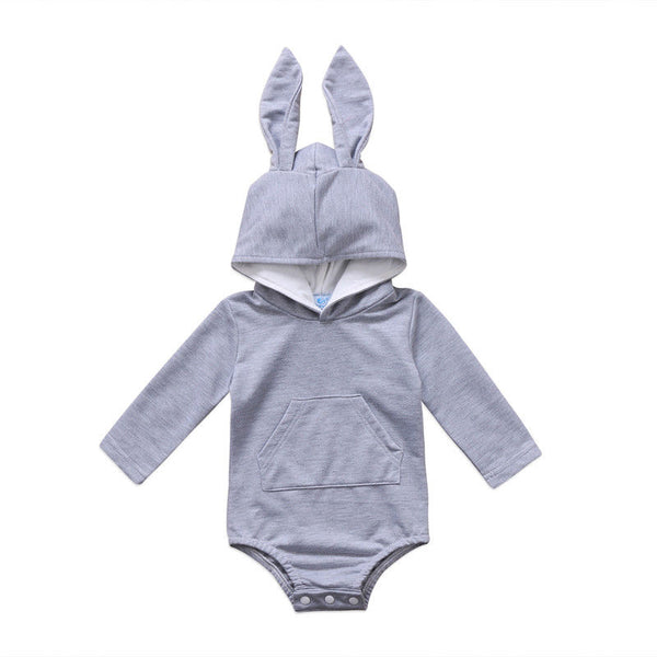 2017 Brand New Newborn Toddler Infant Baby Girl Boy Hooded Rabbit Ear Romper Outfits Long Sleeve Jumpsuit Lovely Bunny Clothes