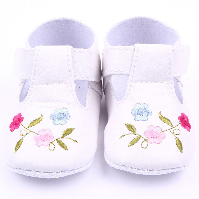 c9a1b3945d 2017 Brand New Toddler Infant Newborn Baby Girls Flower Lovely Soft Sole  Pram Shoes Trainers