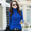 2017 Camisas Femininas Fashion Autumn Winter Gold T-Shirt Women Long Sleeve Fleece Tees Tops Turtleneck Black Tops B173