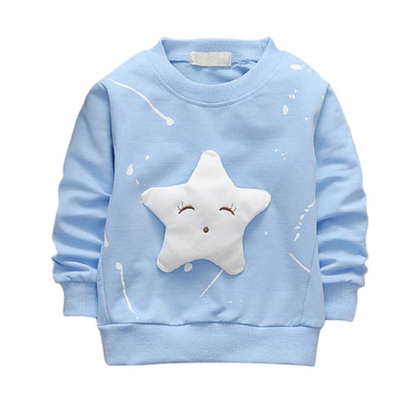 2017 Children's Spring Autumn Cotton Long Sleeve Sweatshirt Star Pattern Casual Pullover Kids