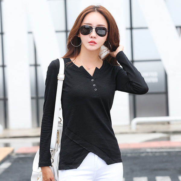 2017 Fashion Autumn Long Sleeve Irregular T shirt Women V Neck Cotton Button T-shirt Female Casual Black White Tee Tops CS771