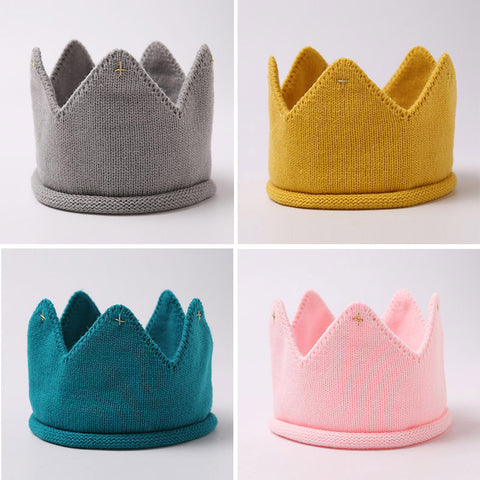 2017 Fashion Colorful Baby Newborn Photo Props Kids Caps Baby Crown Knitted Headband Hat