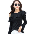 2017 Fashion Cotton Women Long Sleeve T-shirts O-neck Causal Ruffles T shirt Autumn Off Shoulder Tops For Women New Style Tees