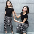 2017 Fashion Design Cotton Mother And Daughter Clothes Girls T-shirt + Wide Leg Pants 2Pcs Cartoon Print Family Matching Outfits