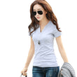 2017 Fashion Slim Solid Plus Size T shirt Summer Women V Neck Short Sleeve Cotton Tshirt Casual Black/White/Grey Tops Tees B178