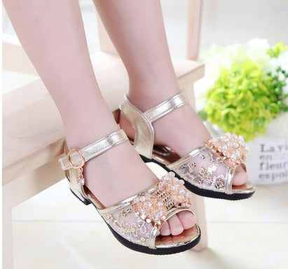 2017 Hot sale girls princess shoes Summer breathable sandals Rhinestone mid heel single shoes kids leather sandal Children shoe