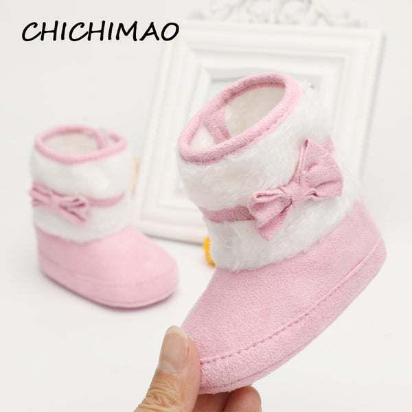 2017 Knitting Hand-made Bowknot Fleece Snow Boots For Baby Girl Boy Anti-silp Prewalker Booties