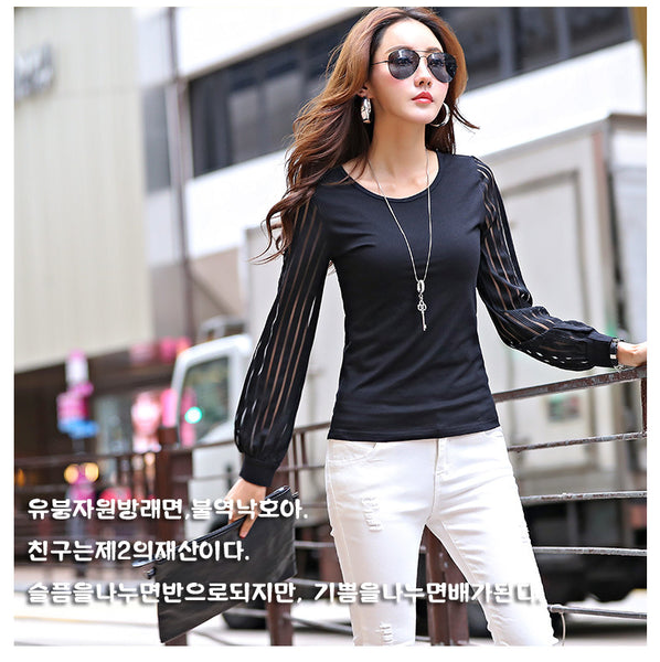 2017 Korean FashionT shirt Top Slim Spring Autumn O-neck T Shirts For Women Long Hollow Out Sleeve Tees Casual Cotton Tops