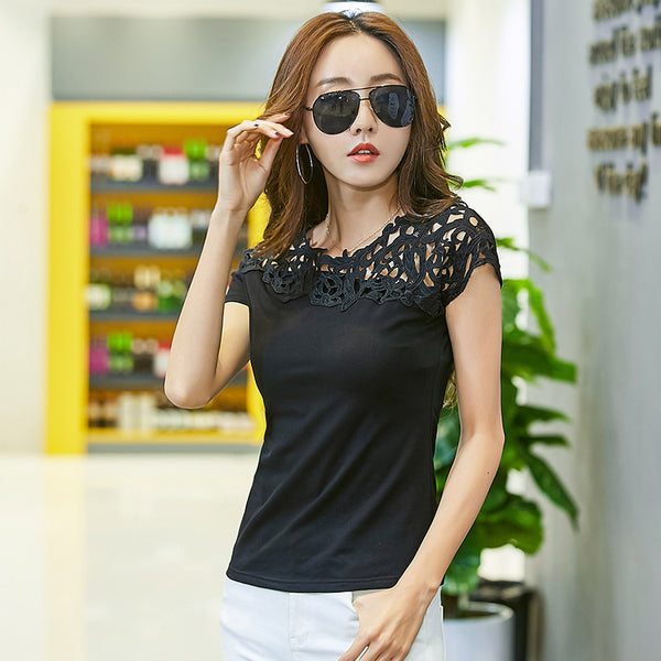 2017 Korean style summer hollow out sexy t shirt women fashion slim lace embroidery t-shirt short sleeve tee shirt femme tops