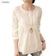 2017 Lace Blouses Women Sweet Spring AutumnWhite Blouse Tops Shirt  Loose Casual Blusa Feminina Long Sleeve Shirts  A543
