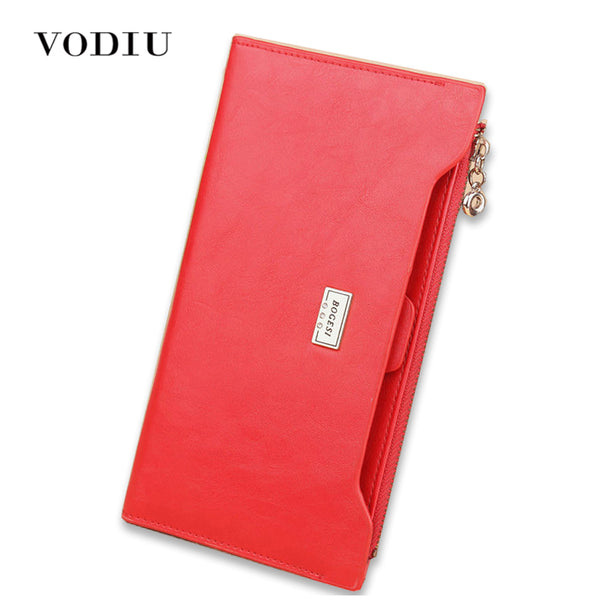 2017 Luxury Genuine Leather Women Long Slim Wallet Zipper Female Purse Brand Clutch Phone Coin Photo Credit Card Holder Wristlet