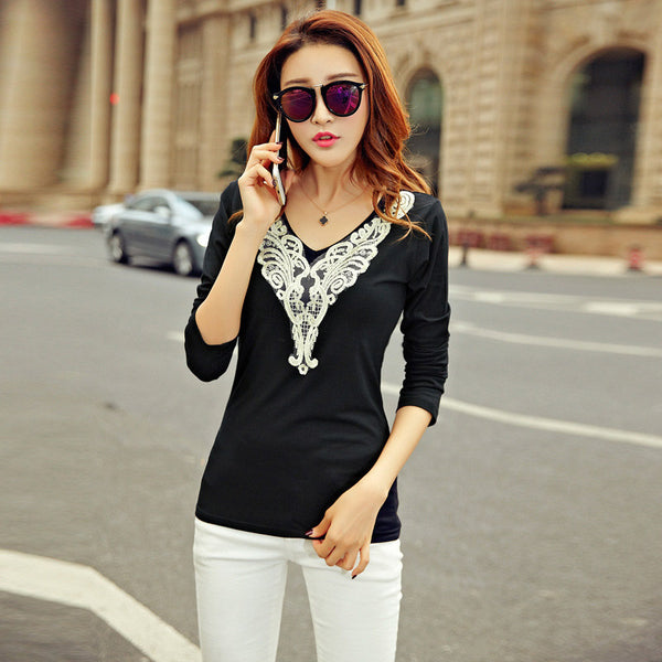 2017 NEW Fashion Lace V Neck T-shirt Sexy Black White Spring Autumn Tshirt Women Long Sleeve Tees Elegant Tops High Quality B186