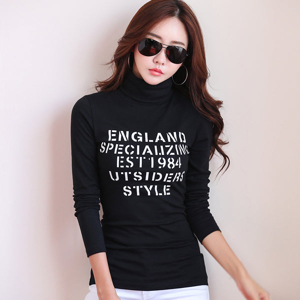 2017 New Autumn Winter Warm tshirt Women Long Sleeve Pullover Turtleneck T Shirt Female Slim Casual Letter Print t-shirt Tee Top