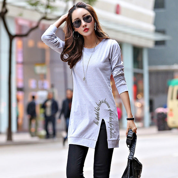 2017 New Fashion Simple Women Spring And Autumn Slim T Shirt Cotton Split Tops Fashion Long T-Shirt Woman Clothes Harajuku CS270