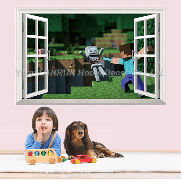2017 New Minecraft 3D Wall Sticker For Kids Room Wallpaper Home Decoration Game Minecraft Enderman Wall Stickers Free Shipping