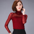 2017 New Spring Autumn Sexy Shirt Top Women Long Sleeve Turtleneck Blouses Fashion Slim Colorful Mesh Tops Plus Size Blusa A496