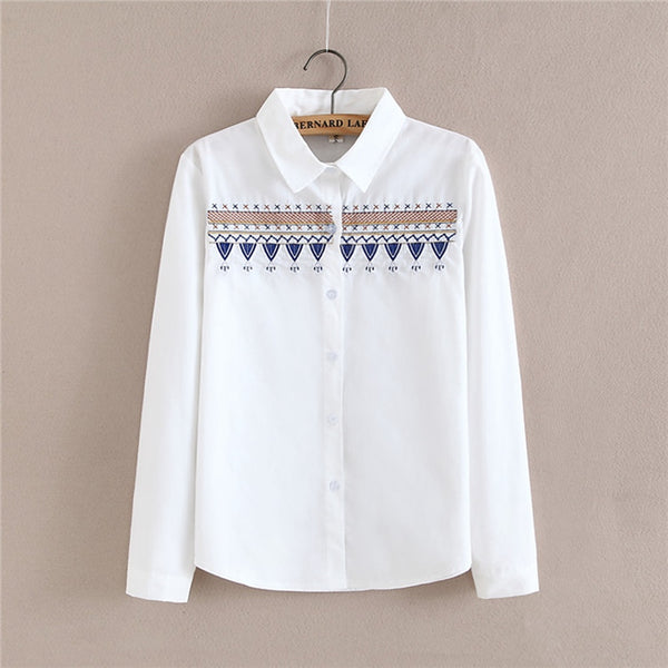 2017 New Spring Autumn Women Blouse Boho Embroidery Long Sleeve Work Shirts Women office Tops white blouse for business cs436