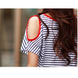 2017 New Striped T-Shirt Women Summer Off the Shoulder Short Sleeve T Shirt Casual Loose O Neck tshirt Tops Lady Cotton Tops A25