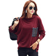 2017 New Style Spring Autumn Winter Fashion Bow Neck Tops Long Batwing Sleeve T Shirt Casual t-shirt women Loose Tees Shirts Top