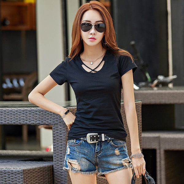 2017 New Style t shirt Summer Women Top Short Sleeve V Neck Cotton Tshirt Casual Black/White/Gray Tops Tee Shirt Femme