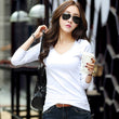 2017 New Women Sexy V Neck Tees Spring Autumn Fashion Slim Tops Camisetas Mujer Black White Gray T shirt For Women Tops A473