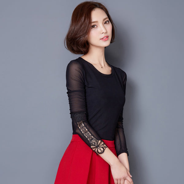 2017 New Women Tops Blusa Spring Autumn Thin Mesh Lace Blouse Long Sleeve Slim Plus Size Black Pink Red Shirt Camisa Feminina