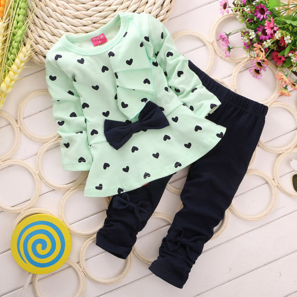 2017 New girls spring autumn clothes sets bowtie T-sirt+ Pants long sleeve children active suits girls wear.