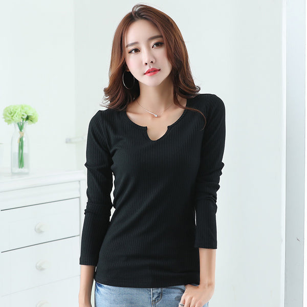 2017 New style v neck slim casual t shirt women tops autumn winter long sleeve solid t-shirt women For tee shirt female top cs53