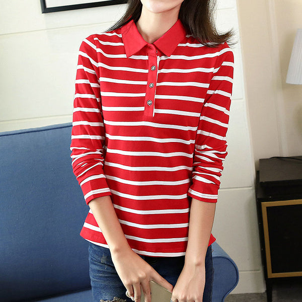 2017 Spring Autumn Casual Striped Polo Shirt For Women Long Sleeve Slim Polos Mujer Women Tops Lady Polo Shirt Femme Plus Size
