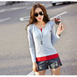 2017 Spring Autumn Faux Twinset t shirts For Women Fashion Long Sleeve Tops Tees O Neck Patchwork Women's Clothing t-shirt