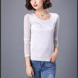 2017 Spring Autumn Silk t shirt Women Fashion Long Sleeve Tops Tees O Neck Patchwork Mesh Slim Women's Clothing tshirt Plus Size