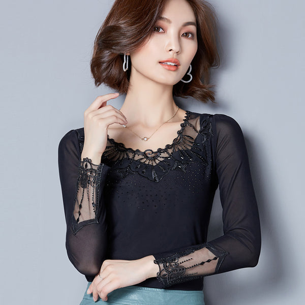 2017 Spring Autumn Tops Mesh Lace Blouse Shirt Women Sexy Blouse Shirts Korean Style Ladies Tops Women Clothing Blusas Plus Size
